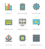 Flat line simple icons set. Thin linear stroke vector Essentials objects symbols Stock Image