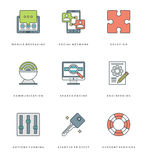 Flat line simple icons set. Thin linear stroke vector Essentials objects symbols Royalty Free Stock Photo