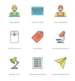 Flat line simple icons set. Thin linear stroke vector Essentials objects symbols. Royalty Free Stock Photo