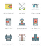 Flat line simple icons set. Thin linear stroke vector Essentials objects symbols. Royalty Free Stock Images