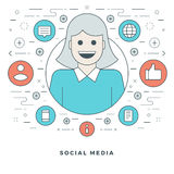 Flat line Social Media Concept Vector illustration. Modern thin linear stroke vector icons. Stock Photo
