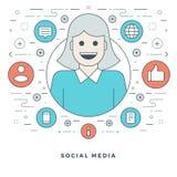 Flat line Social Media Concept Vector illustration. Modern thin linear stroke vector icons. Stock Photo