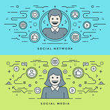 Flat line Social Media and Network Concept Vector illustration. Modern thin linear stroke vector icons. Website Stock Photography