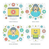 Flat line Social Media and Network, Video Tutorials, Mobile, Business Success Concepts Set Vector illustrations. Modern thin linear stroke vector icons Royalty Free Stock Photos