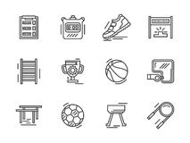 Flat line sports equipment icons. Royalty Free Stock Photos