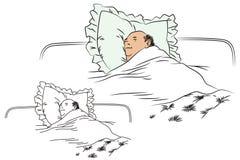 Flat line stock illustration. Funny sleeping man Stock Image