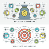 Flat line Strategic Management and Investment. Vector illustration. Stock Images