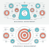 Flat line Strategic Management and Investment. Vector illustration. Modern thin linear stroke vector icons. Website Header Graphics, Banner, Infographics Stock Photos