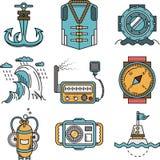 Flat line style nautical icons Stock Photo