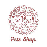 Flat line style pets shop illustration in the form of a circle. For pets shop or veterinary logo design concept. Goods for animals, vector icons set  on white Stock Photography