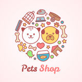 Flat line style pets shop illustration in the form of a circle. For pets shop or veterinary logo design concept. Goods for animals, vector icons set  on white Royalty Free Stock Images