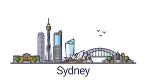 Flat line Sydney banner Royalty Free Stock Photography