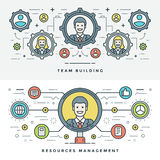 Flat line Team Building and Management. Vector illustration. Royalty Free Stock Image