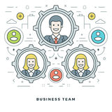 Flat line Team Building and Management. Vector illustration. Modern thin linear stroke vector icons. Stock Images