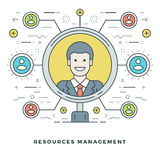 Flat line Team Building and Resources Management Concept. Vector illustration. Stock Image