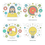 Flat line Technical Support, Digital Marketing, Innovations Ideas, Business Concepts Set Vector illustrations. Royalty Free Stock Images