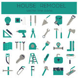 Flat line tools icons. Modern flat line tools icons set for home improvement Stock Image