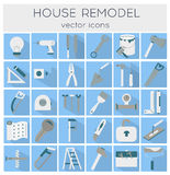 Flat line tools icons. Modern flat line tools icons set for home improvement Stock Photography