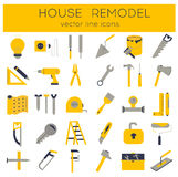 Flat line tools icons. Modern flat line tools icons set for home improvement Royalty Free Stock Photography