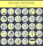 Flat line tools icons. Modern flat line tools icons set for home improvement Stock Images