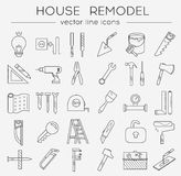 Flat line tools icons. Modern flat line tools icons set for home improvement Royalty Free Stock Photos