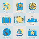 Flat line tourism icons set. Modern design style Stock Photography