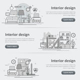 Interior design process decoration set of banner and header. Flat line vector design concept banner templates set of interior design process, architecture Royalty Free Stock Photo