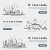 Oil and gas production industry process website banner header se Royalty Free Illustration