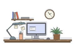 Flat line vector desk with computer and other equipment, clock and shelf with books on the wall, office scene illustration.  stock illustration