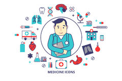 Flat line vector illustration Cardiologist Dr. with a lot of medical icons around. Can be used in the brochures and Royalty Free Stock Photography