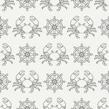 Flat line vector seamless pattern crab and steering wheel. Simplified retro. Cartoon style. Cancer. Omar. Seafood. Flat line vector seamless pattern ocean crab Stock Images