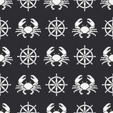 Flat line vector seamless pattern crab and steering wheel. Simplified retro. Cartoon style. Cancer. Omar. Seafood. Flat line vector seamless pattern ocean crab Royalty Free Stock Photography