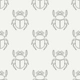 Flat line vector seamless pattern wildlife fauna bug, scarab. Simplified retro cartoon style. Insect. Beetle. Entomology. Nature ornament. Forest life Royalty Free Stock Images