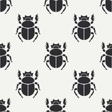 Flat line vector seamless pattern wildlife fauna bug, scarab. Simplified retro cartoon style. Insect. Beetle. Entomology. Nature ornament. Forest life Stock Photography
