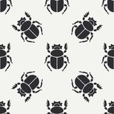 Flat line vector seamless pattern wildlife fauna bug, scarab. Simplified retro cartoon style. Insect. Beetle. Entomology. Nature ornament. Forest life Royalty Free Stock Image