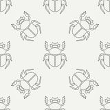 Flat line vector seamless pattern wildlife fauna bug, scarab. Simplified retro cartoon style. Insect. Beetle. Entomology. Nature ornament. Forest life Stock Image
