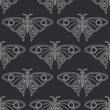 Flat line vector seamless pattern wildlife fauna, butterfly. Simplified retro cartoon style. Insect. Beetle. Entomology. Nature ornament. Forest moth Stock Photography