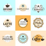 Flat line Vintage Coffee Labels Logo design vector typography Royalty Free Stock Photography