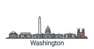 Flat line Washington banner Stock Photo