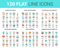 Flat Line Web Icons. Vector set of 120 flat line web icons on following themes - business and finance, design and development, network and cloud computing, SEO stock illustration