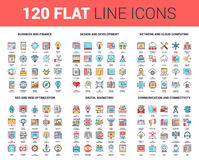 Flat Line Web Icons. Vector set of 120 flat line web icons on following themes - business and finance, design and development, network and cloud computing, SEO vector illustration