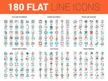 Flat Line Web Icons. Vector set of 180 flat line web icons on following themes - files and documents, power and energy, travel and vacation, leisure and tourism Stock Photography