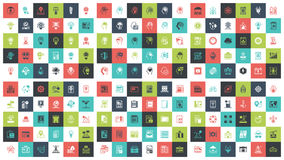 Flat Line Web Icons. Vector set of 180 flat line web icons on following themes - files and documents, power and energy, travel and vacation, leisure and tourism Stock Images