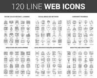 Flat Line Web Icons. Vector set of 120 flat line web icons on following themes - online education, social media and network, corporate business, web design and Royalty Free Illustration