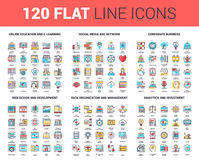 Flat Line Web Icons. Vector set of 120 flat line web icons on following themes - online education, social media and network, corporate business, web design and vector illustration