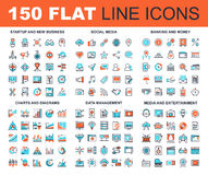 Flat Line Web Icons. Vector set of 150 flat line web icons on following themes - startup and new business, social media, banking and money, charts and diagrams Stock Photography