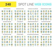 Flat Line Web Icons. Vector set of 240 64X64 pixel perfect spot line web icons. Fully editable and easy to use Royalty Free Stock Photos