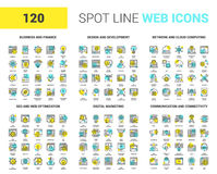 Flat Line Web Icons. Vector set of 120 spot line web icons on following themes - business and finance, design and development, network and cloud computing, SEO Royalty Free Illustration