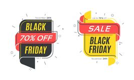 Flat linear bubble Black Friday. Sale banners Royalty Free Stock Photos