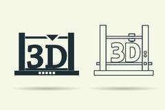 Flat and linear 3D printers icons. Vector flat and linear 3D printer icons. Isolated with shadow Stock Photo